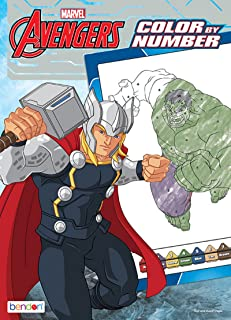 Bendon Avengers 48-Page Color by Number Coloring Book with Full-Color Border Guide