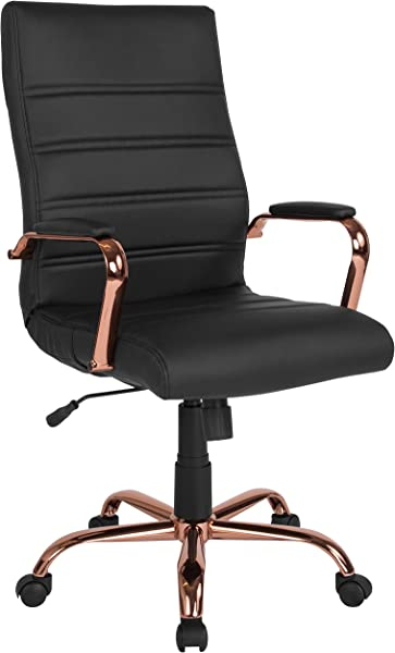 Flash Furniture High Back Black Leather Executive Swivel Chair With Rose Gold Frame And Arms