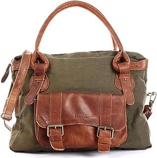 LECONI Henkeltasche Canvas + Echtleder Damentasche Retro-Look Handtasche Damen Vintage Schultertasche für Frauen 38x29x11c...