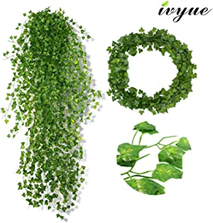 Ivyue 84ft Ivy Garland Artificial Ivy Leaf - Ivy Leaves Greenery Fake Garland Plants Ivy Chain Garland Silk Vine Hanging for Wedding Party Garden Wall Office Home Indoor Outdoor Decoration 12P