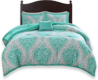 Comfort Spaces Coco 4 Piece Comforter Set Ultra Soft Printed Damask Pattern Hypoallergenic Bedding, Queen, Teal-Grey