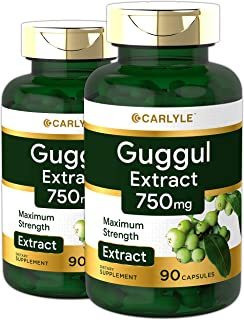 Carlyle Guggul Extract 750 mg Guggulsterone 180 Capsules | Supports Healthy Cholesterol Levels | Non-GMO and Gluten Free S...