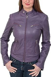 HOL Ladies Genuine Leather Biker Style Slim fit Casual Jacket Khloe Purple