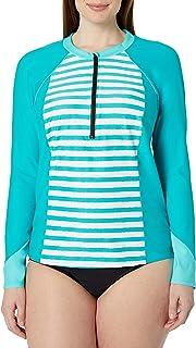 Coastal Blue Women's Plus Size Swimwear Long Sleeve Boat Neck Rash Guard