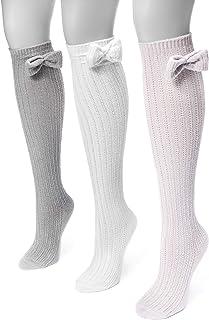 Muk Luks Women`s 18`` Pointelle Bow Knee High Socks