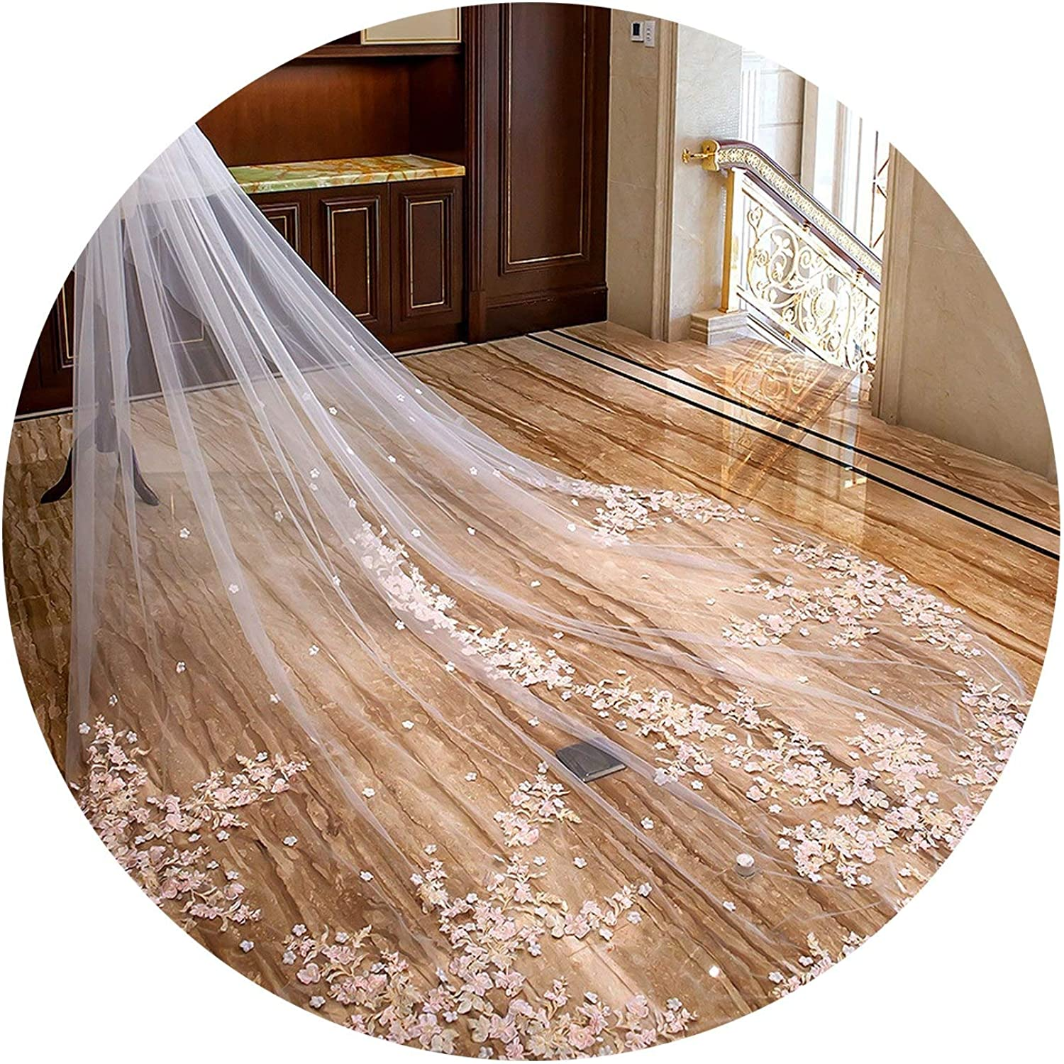 Bridal Veils Luxury Wedding long Cathedral veil for bride accessories Appliques Cut Edge,as picture