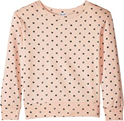 Long Sleeve Dot Print Sweatshirt (Toddler/Little Kids)