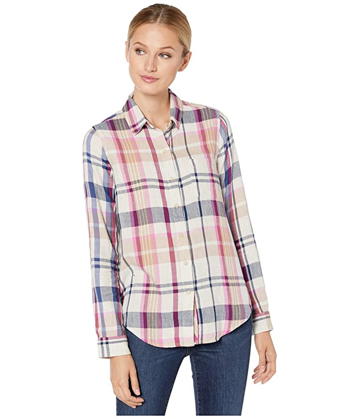 Lucky Brand  Blue Classic One-Pocket Plaid Shirt (Natural Multi) Womens Clothing