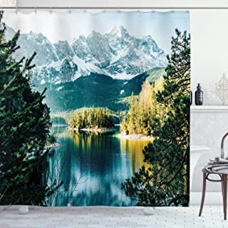 Ambesonne Landscape Shower Curtain, Mountain Lake in Northern Germany with Frozen Peaks Water in Winter Season Life, Cloth Fabric Bathroom Decor Set with Hooks, 75