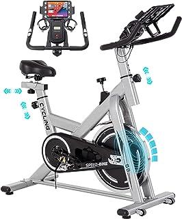 Tenntowu フィットネスバイク 静音 スピンバイク 無制限 エクササイズバイク 耐荷重150キロ 自宅トレーニングマシン エアロバイク ハンドル/サドル調整可能 移動キャスター付き