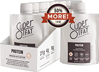 SuperFat Nut Butter Keto Snacks - Macadamia & Almond Nut Butter Fat Bomb Paleo Snack For Energy, Metabolism & Brain Function, Vegan, Gluten Free, Low Net Carb Box of 10 x 1.5 oz (Protein)