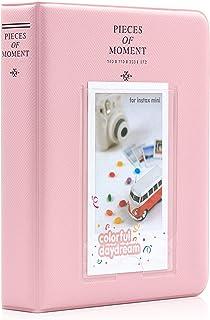 Amimy 64 Pockets álbum de Fotos para Fujifilm Instax Mini 7s 8 8+ 9 25 50 70 90 Polaroid Snap PIC-300 HP Piñón Kodak Mini 3 Pulgadas de película con Pegatinas de Colores (64 Bolsillos Rosado)