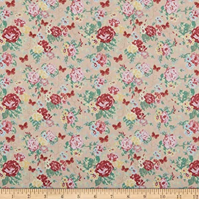 Packed Floral Multiple Size Bloom Makower Fabric 100/%Cotton Turquoise