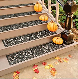 Rubber Stair Treads - Set of 3 - 48 Inch Extra Wide Elegant Outdoor Black Scrollwork Rubber Non Slip Stair Treads Mat