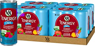 V8 +Energy, Healthy Energy Drink, Diet Cranberry Raspberry, 8 Ounce Can (4 Packs of 6, Total of 24)