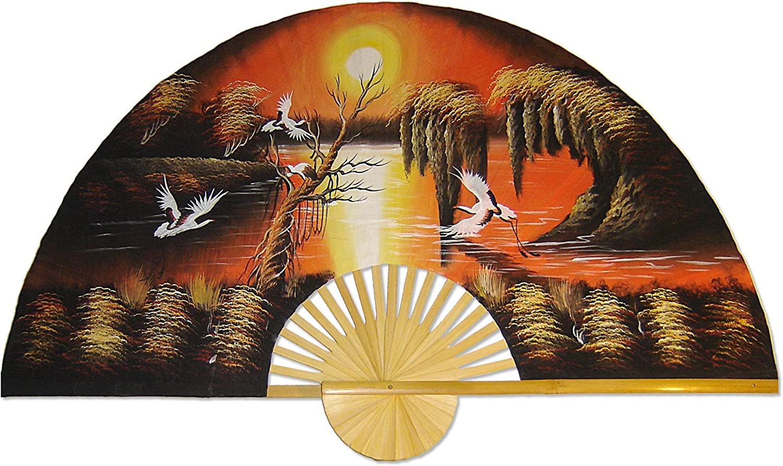 Large 60  Folding Wall Fan -- Asian Sunrise -- Original Hand-painted