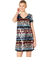 Rainbow Stripe Sequin Shift Dress