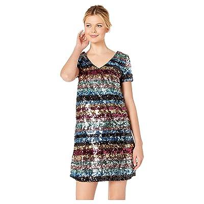 eci Rainbow Stripe Sequin Shift Dress (Multi) Women