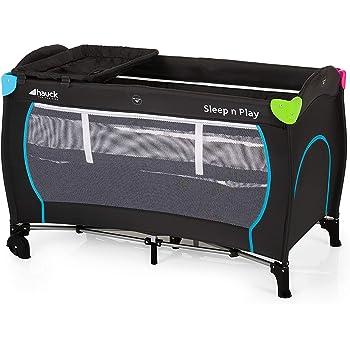 Hauck/ Sleep N Play Center/ lit parapluie 7 pièces/ jusqu'à 15 kg/ avec deux niveaux nouveau-né, table à langer, roulettes, matelas, ouverture, sac/ pliable, hauteur réglable/ Multicolor Black (Noir)