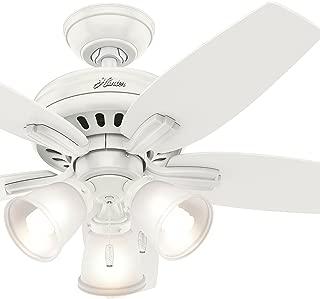 Hunter Fan 42 inch Ceiling Fan with 3 Lights in Brushed Nickel (Renewed) (Fresh White)