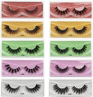 FRCOLOR 10 Pairs Faux Mink Lashes Multi- layered Fluffy Volume Lashes 3D Layered False Eyelashes Natural Look Lashes Exten...