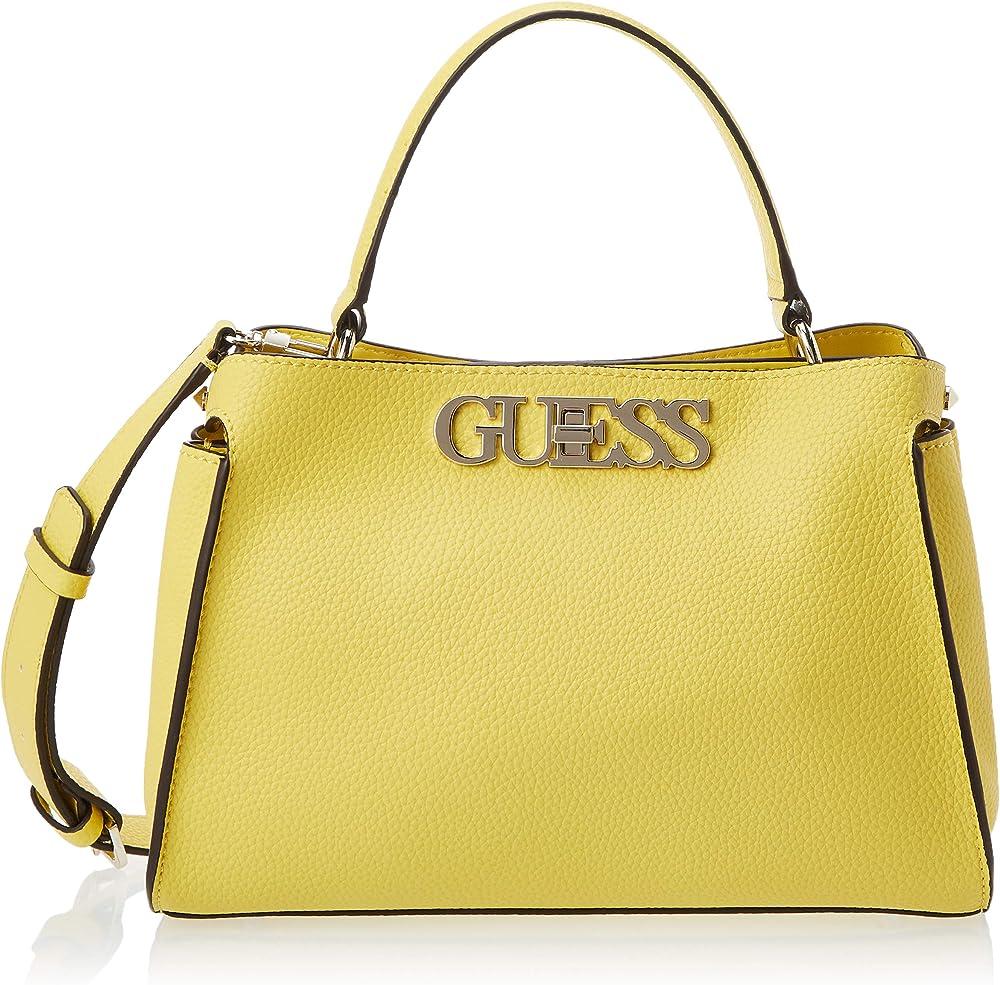 Guess uptown chic, borsa a mano/tracolla per donna, in pelle sintetica, gialla HWVG7301050A