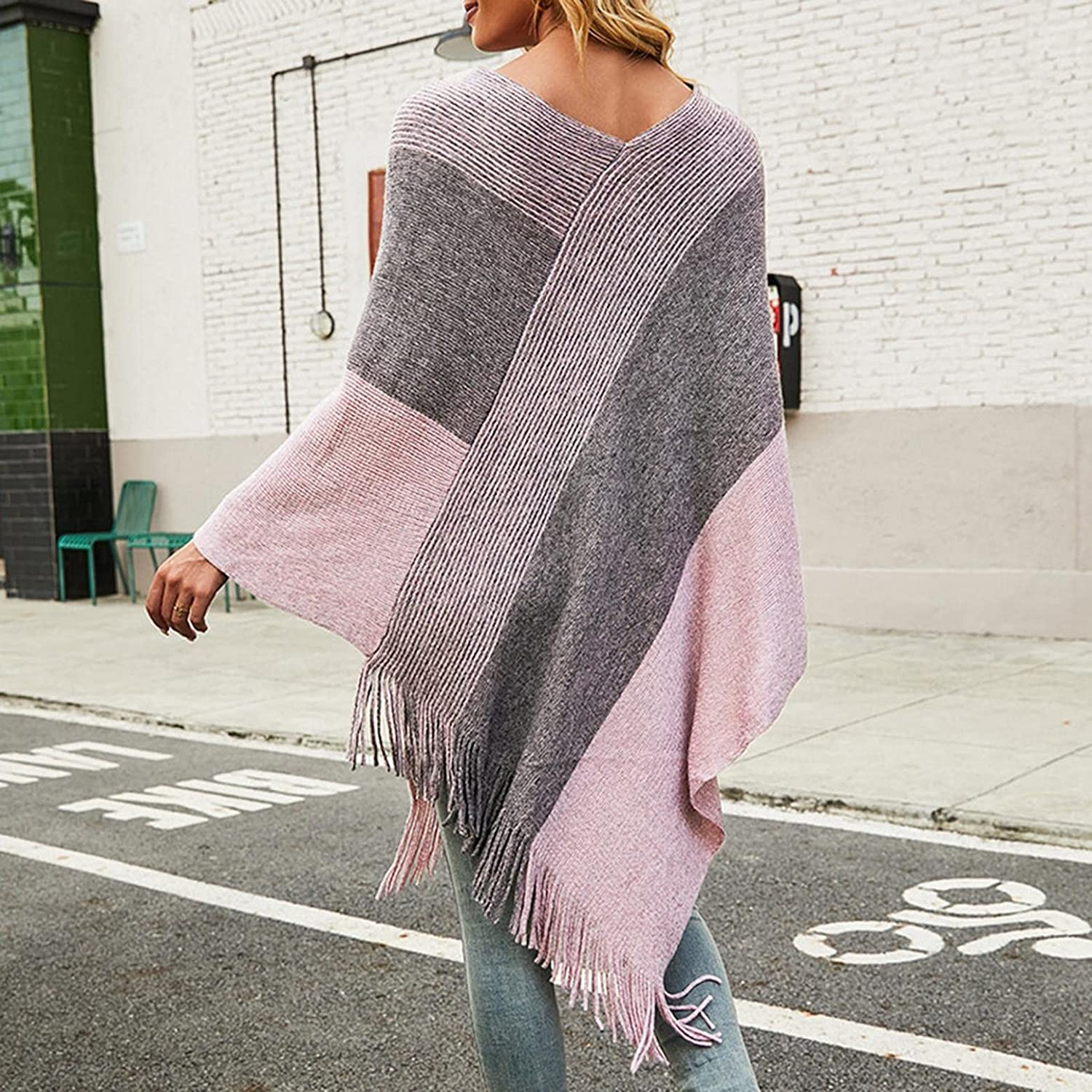 Changeshopping Womens Elegant Knitted Pullover Cape Tops with Stripe Patterns and Fringed Sides
