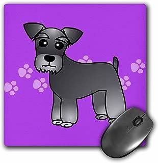 3dRose LLC 8 x 8 x 0.25 Inches Mouse Pad, Miniature Schnauzer Salt/Pepper on Purple (mp_40881_1)