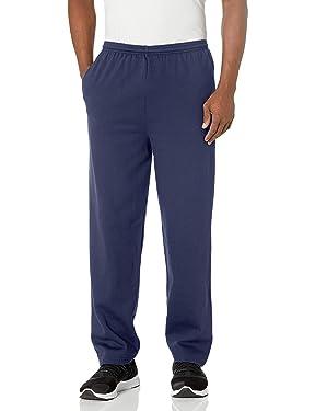 Hanes EcoSmart Pantalón de forro polar abierto con bolsillos para hombre
