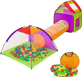 TecTake Tienda infantil en forma de iglú con túnel + 200 bolas + bolsa - carpa de campaña para niños - disponible en diferentes colores - (multicolor 1 | 401027)