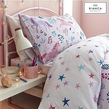 Bianca Woodland Unicorn and Stars Cotton Print Single Duvet Set Pink