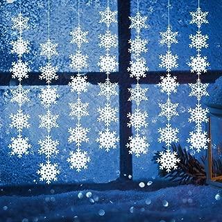 Korlon 12 Pcs Christmas Snowflake Decorations Snowflake Garland - Paper Hanging Snowflakes Ornaments Decorations Winter Wonderland Christmas Party Decorations