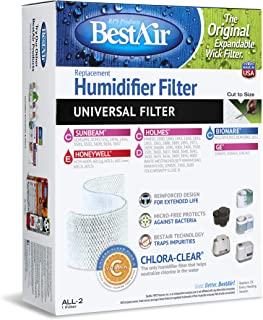 BestAir ALL-2, Extended Life Humidifier Replacement Paper Wick Filter, For Holmes, Sunbeam, Touch Point, White-Westinghouse, Bionaire, and GE Models, 7.75