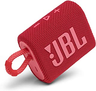 JBL Go 3: Portable Speaker with Bluetooth, Built-in Battery, Waterproof and Dustproof Feature - Red (JBLGO3REDAM) (Renewed)