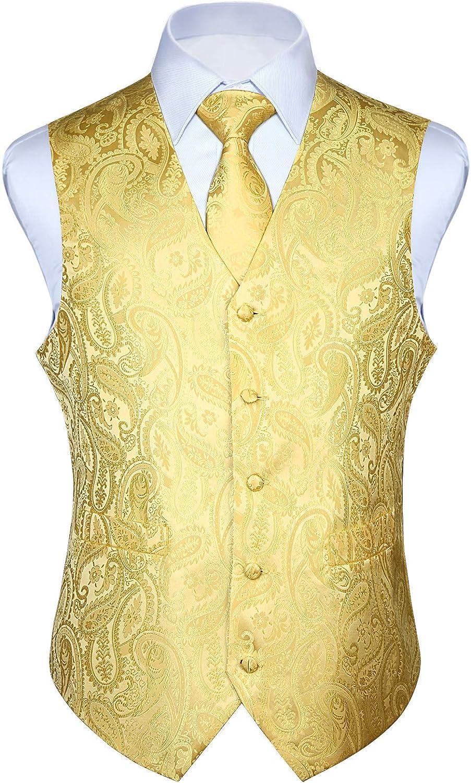 HISDERN Men's Max 55% OFF Vest Bombing new work Tie Set Paisley Pocke Floral Necktie Jacquard