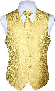 Men's Paisley Floral Jacquard Waistcoat & Necktie and Pocket Square Vest Suit Set