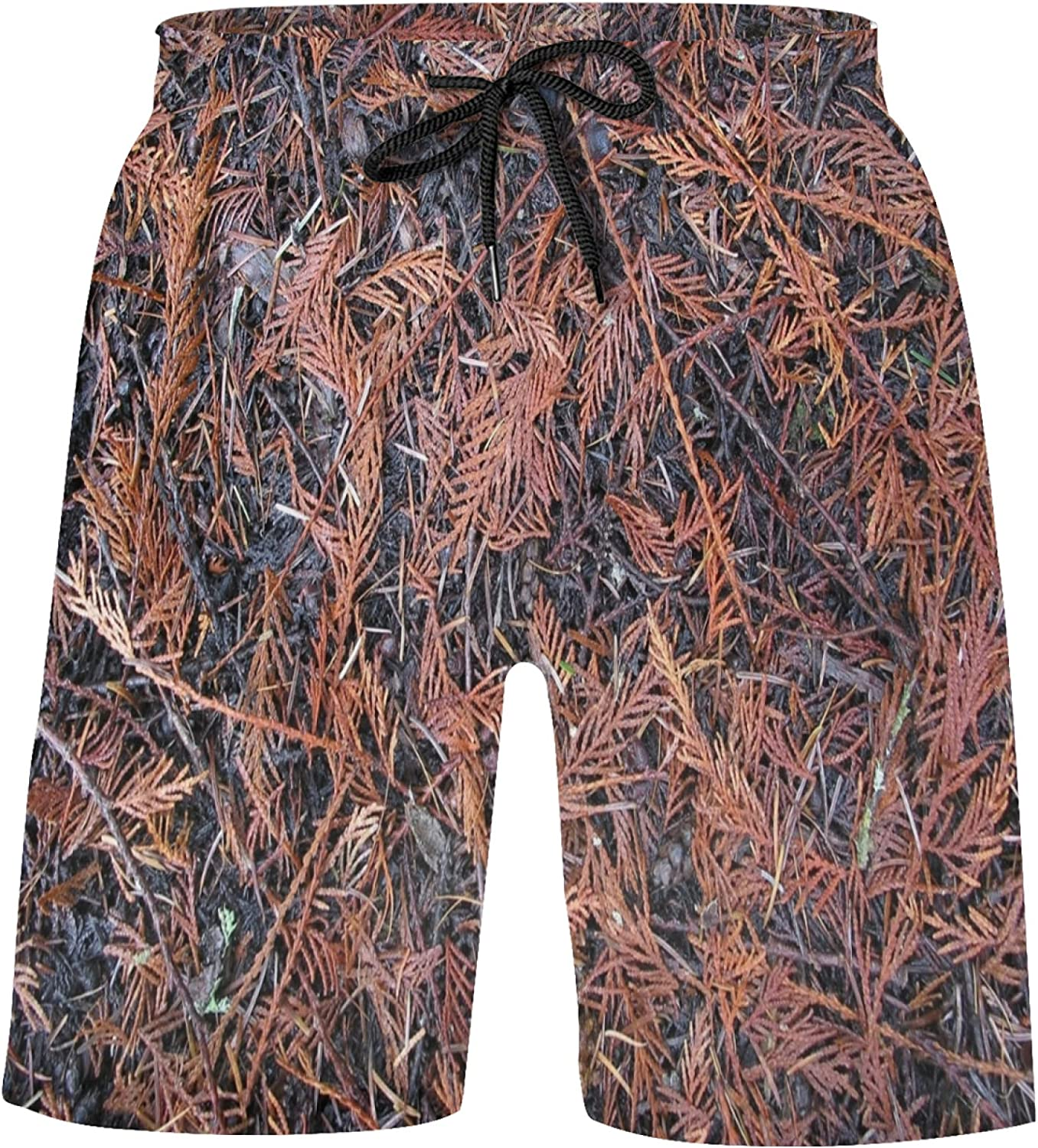 ZXZNC Cedar Forest Floor of Twigs and Needles Bathing Suits Athletic Basketball Shorts Swi