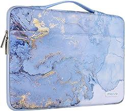 MOSISO 360 Schutzhülle Laptop Aktentasche Kompatibel mit 13-13,3 Zoll MacBook Pro, MacBook Air, Notebook Computer,Polyester Aquarell Marmor Handtasche mit Trolley Gürtel,Blau