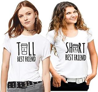 Hangout Hub Family-Friends- Women's Cotton Printed Regular Fit T-Shirts (Pack of 2) Tall Best Friend& Short Best Friend