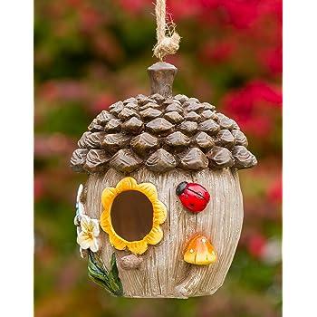 Dawhud Direct Acorn Cottage Decorative Hand-Painted Bird House