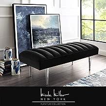 Nicole Miller Raul Bench - Velvet Upholstered   Channel Tufted   Mirrored Metal Legs   Glam   Black/Chrome