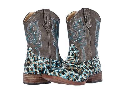 Roper Kids Glitter Leopard (Toddler) (Blue Giltter Vamp/Brown Shaft) Girls Shoes
