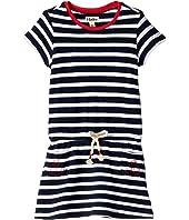 Nautical Stripes Pique Front Pocket Drop Waist Dress (Toddler/Little Kids/Big Kids)