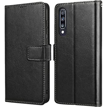 for Samsung Galaxy A70 Case Honeach Sturdy Leather Wallet Flip Case Magnetic Clasp with Cash Credit Card Slots Samsung A70 Case 6.7 Inch Dark Blue