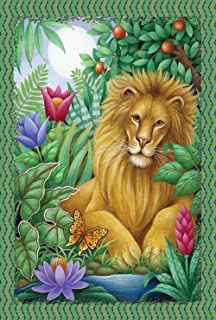 Toland Home Garden  Lounging Lion 28 x 40-Inch Decorative USA-Produced House Flag