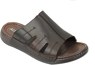 Mens Black Tan Brown Real Leather Sandals Walking Open Front Toe Mules Slippers Size 6 7 8