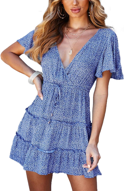 Relipop Women's Dresses Floral Print V Neck Short Flared Sleeve High Waist Ruffle Hem Short Dress with Drawstring