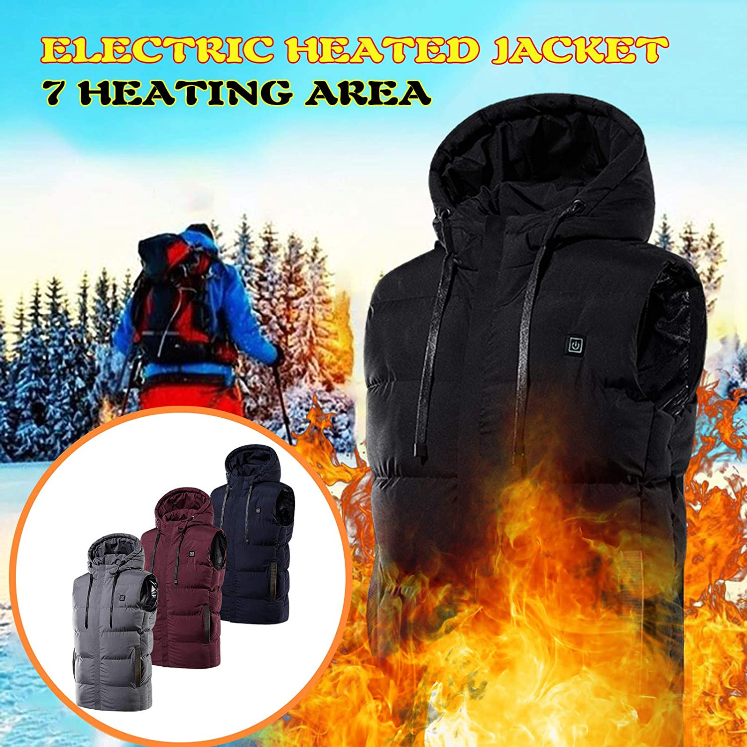 Heated Vest for Men and Women Whycat USB Charging Vest Hooded Zipper Body Warmer Jacket with Pockets Heating Clothes