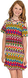Truly Me, Big, Little, and Toddler Girls' Easy Throw Over Printed Knit Dress, Size 2T-4T, 4-6X, 7-16
