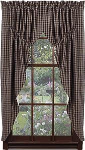 "IHF Home Decor Cambridge Navy Design Prairie Curtain Window Treatments 100% Cotton 72"" x 63"""